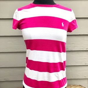 Pink + White Striped Ralph Lauren Sz M Top